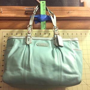 Coach two tone aqua leather bag